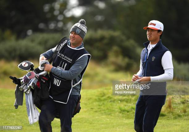 Brandon Wu of The United States on the 15th hole during Day three of the Alfred Dunhill Links Championship at Carnoustie Golf Links on September 28...