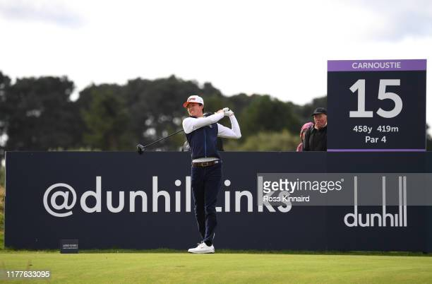 Brandon Wu of The United States tees off on the 15th hole during Day three of the Alfred Dunhill Links Championship at Carnoustie Golf Links on...