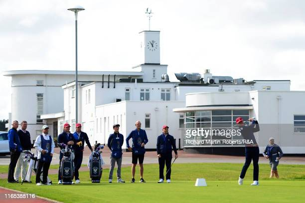 Brandon Wu of the United States tees off on the 1st hole during a practice round at Royal Birkdale Golf Club prior to the 2019 Walker Cup on...