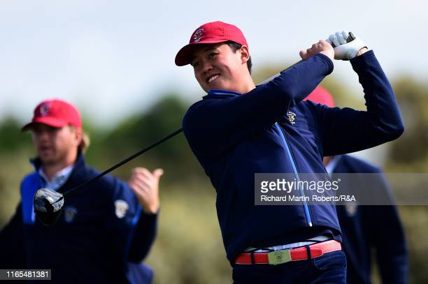 Brandon Wu of the United States tees off on the 2nd hole during a practice round at Royal Birkdale Golf Club prior to the 2019 Walker Cup on...