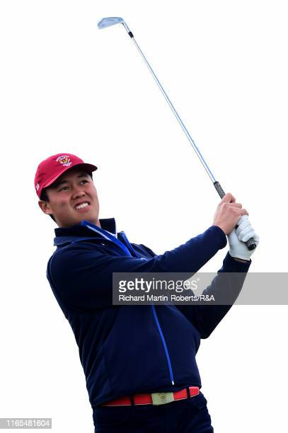 Brandon Wu of the United States tees off on the 3rd hole during a practice round at Royal Birkdale Golf Club prior to the 2019 Walker Cup on...