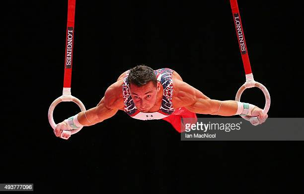 Brandon Wynn of the United States goes through his routine on the Rings during the 2015 World Artistic Gymnastics Championships Training Session at...