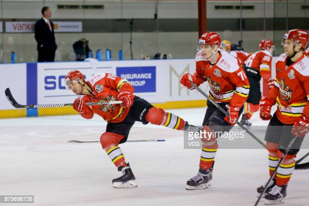 Brandon Yip of HC Kunlun Red Star warms up prior to the 2017/18 Kontinental Hockey League Regular Season match between HC Kunlun Red Star and SKA...