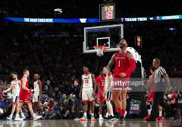 Brandone Francis of the Texas Tech Red Raiders celebrates the play against the Virginia Cavaliers in the second half during the 2019 NCAA men's Final...