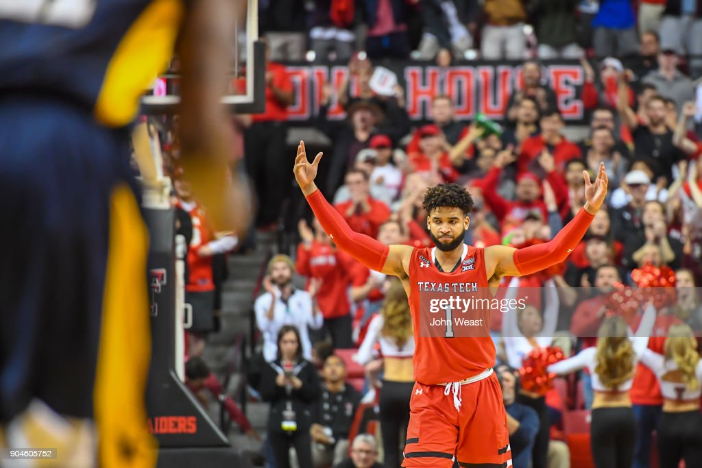 Brandone Francis #1 of the Texas Tech Red Raiders rallies the crowd during the game against the West Virginia Mountaineers on January 13, 2018 at United Supermarket Arena in Lubbock, Texas.