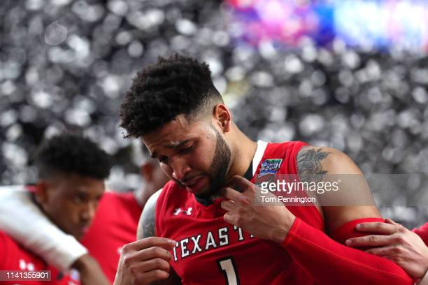 Brandone Francis of the Texas Tech Red Raiders reacts after his teams 8577 loss to the Virginia Cavaliers during the 2019 NCAA men's Final Four...