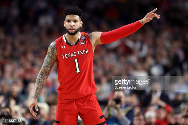 Brandone Francis of the Texas Tech Red Raiders reacts against the Virginia Cavaliers in the first half during the 2019 NCAA men's Final Four National...