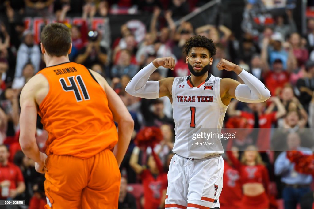 Brandone Francis #1 of the Texas Tech Red Raiders reacts on the court to making a three point basket during the second half of the game against the Oklahoma State Cowboys on January 23, 2018 at United Supermarket Arena in Lubbock, Texas. Texas Tech defeated Oklahoma State 75-70.