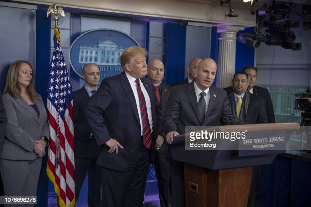 BrandonJudd president of the National Border Patrol Council speaks while US President Donald Trump listens during a White House press briefing in...
