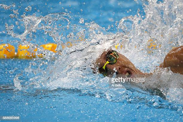 Brandonn Almeida of Brazil competes in the Men's 1500m Freestyle heat on Day 7 of the Rio 2016 Olympic Games at the Olympic Aquatics Stadium on...