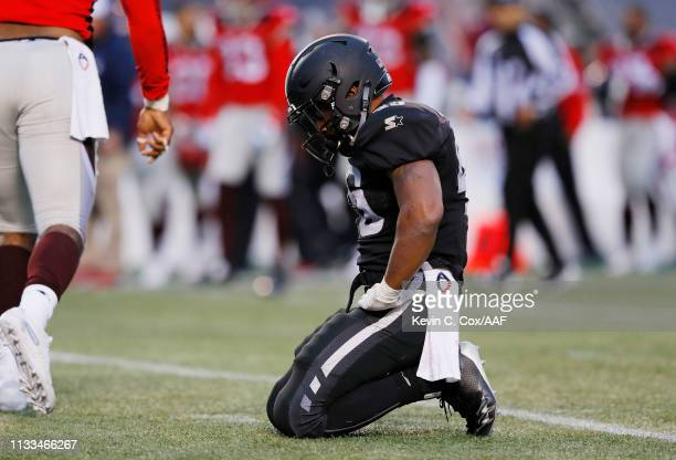 BrandonRoss of the Birmingham Iron reacts after fumbling the ball during the second half against the San Antonio Commanders in an Alliance of...