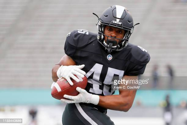 Brandon Ross of the Birmingham Iron warms up before an Alliance of American Football game against the San Antonio Commanders at Legion Field on March...