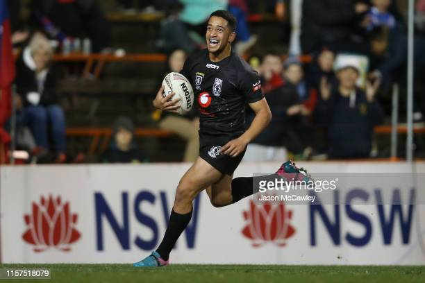 Brandon Wakeham of Fiji scores a try during the Pacific International Test Match between Fiji and Lebanon at Leichhardt Oval on June 22 2019 in...