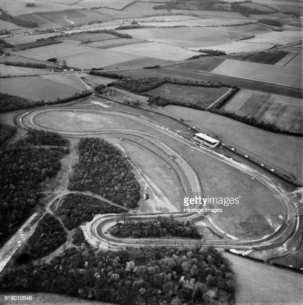 Brands Hatch motor racing circuit, West Kingsdown, Kent, 1955. Photographed five years after the introduction of the first tarmac surface. In the...