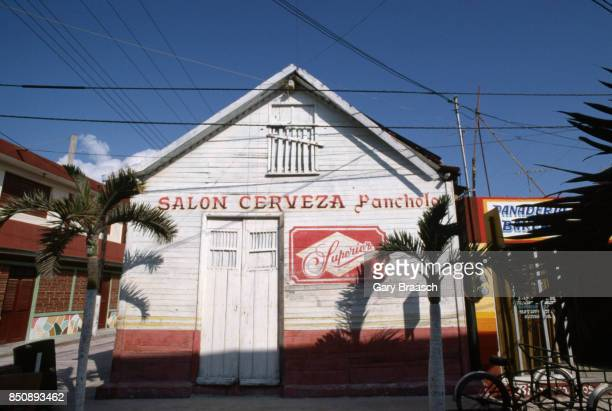 Brands of beer advertised on a building in Isla Mujeres Yucatan Mexico
