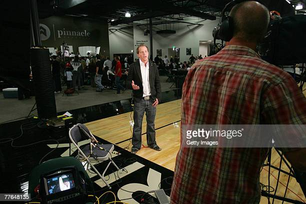 Brandt Andersen, owner of the the Utah Flash basketball team is interviewed live in Orem, Utah by the NBA Channel at the start of the D-Leauge draft...