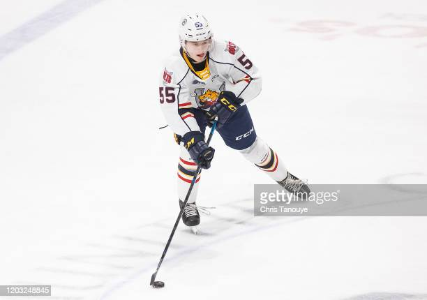 Brandt Clarke of the Barrie Colts skates with the puck during an OHL game against the Oshawa Generals at the Tribute Communities Centre on January...