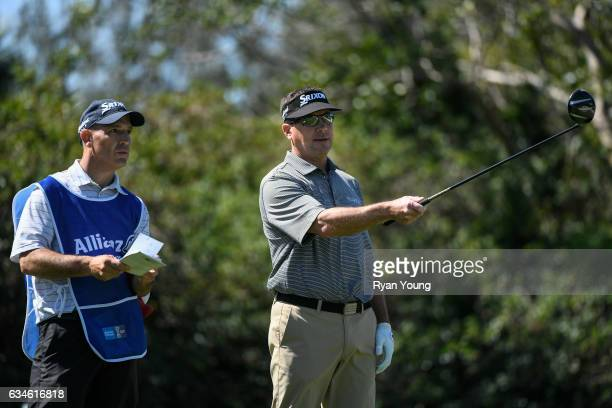 Brandt Jobe discusses his tee shot on the ninth hole with his caddy during the first round of the PGA TOUR Champions Allianz Championship at The Old...