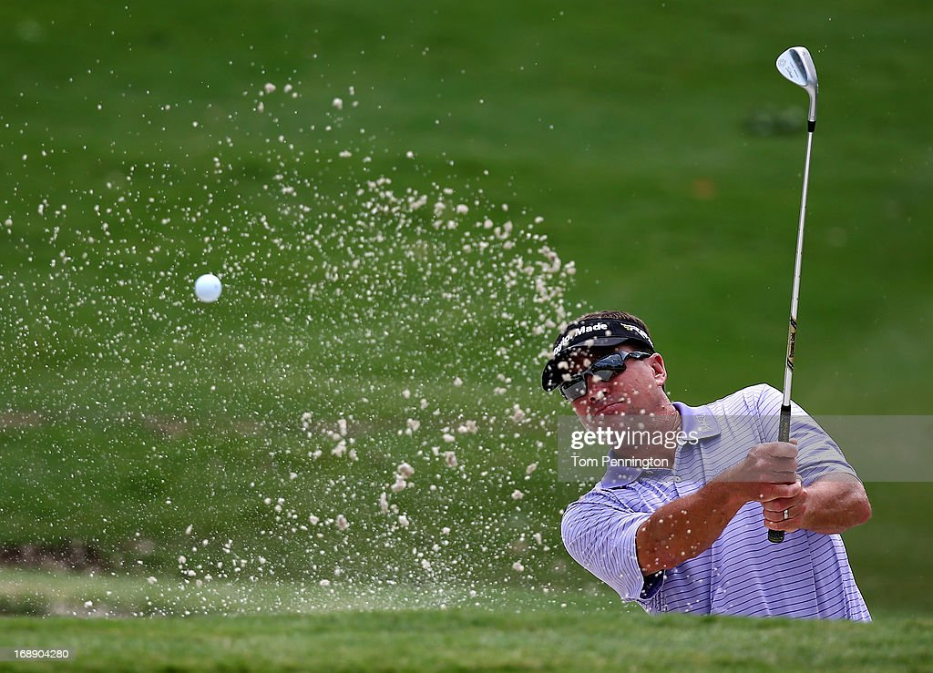 Brandt Jobe hits a shot during the first round of the 2013 HP Byron Nelson Championship at the TPC Four Seasons Resort on May 16, 2013 in Irving, Texas.