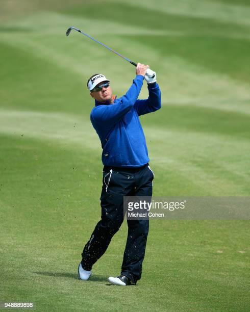 Brandt Jobe hits his second shot on the sixth hole during the first round of the PGA TOUR Champions Bass Pro Shops Legends of Golf held at Buffalo...