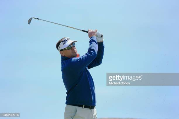 Brandt Jobe hits his tee shot on the ninth hole during the second round of the PGA TOUR Champions Bass Pro Shops Legends of Golf at Big Cedar Lodge...