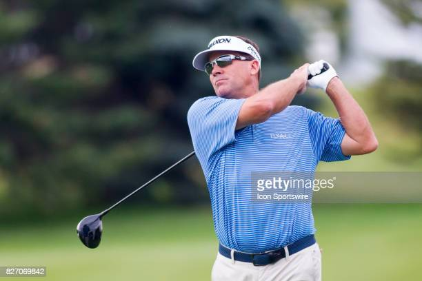 Brandt Jobe watches his tee shot on the 1st hole during the Final Round of the 3M Championship on August 6 2017 at TPC Twin Cities in Blaine Minnesota