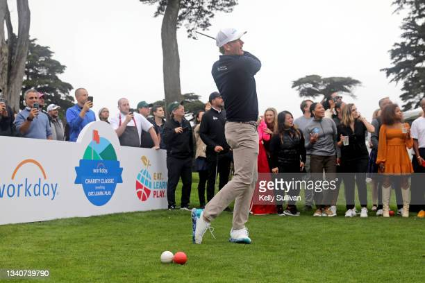 Brandt Snedeker and Ayesha Curry attend The Workday Charity Classic, hosted by Stephen and Ayesha Curry's Eat. Learn. Play. And Workday, at Franklin...