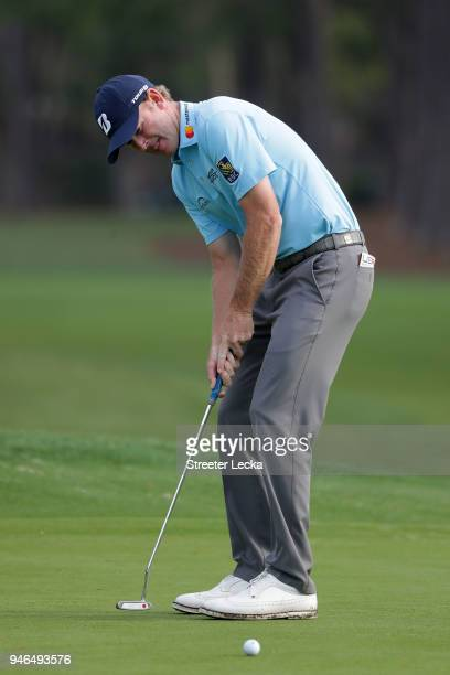 Brandt Snedeker attempts a putt on the second green during the final round of the 2018 RBC Heritage at Harbour Town Golf Links on April 15 2018 in...