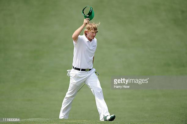 Brandt Snedeker celebrates after making eagle on the second hole during the third round of the 2011 Masters Tournament at Augusta National Golf Club...