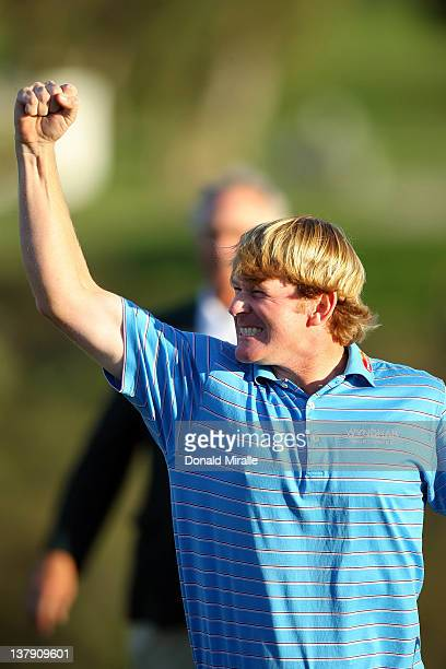 Brandt Snedeker celebrates his playoff victory during the final round of the Farmers Insurance Open at Torrey Pines Golf Course, South Course on...