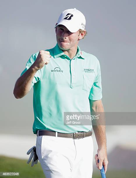 Brandt Snedeker celebrates his threestroke victory at the ATT Pebble Beach National ProAm at the Pebble Beach Golf Links on February 15 2015 in...