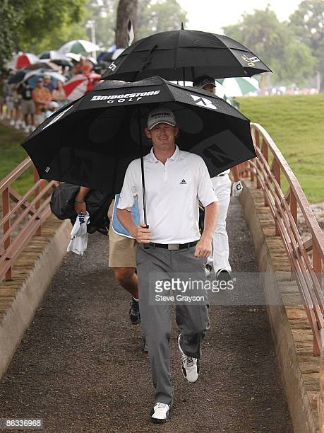 Brandt Snedeker crosses the bridge at the 10th fairway during the second round of the Crowne Plaza Invitational at Colonial at the Colonial Country...