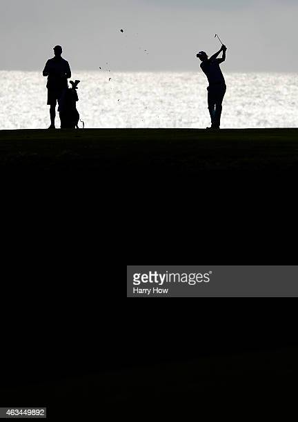 Brandt Snedeker hits a second shot on the eighth fairway during the third round of the ATT Pebble Beach National ProAm at the Pebble beach Golf Links...