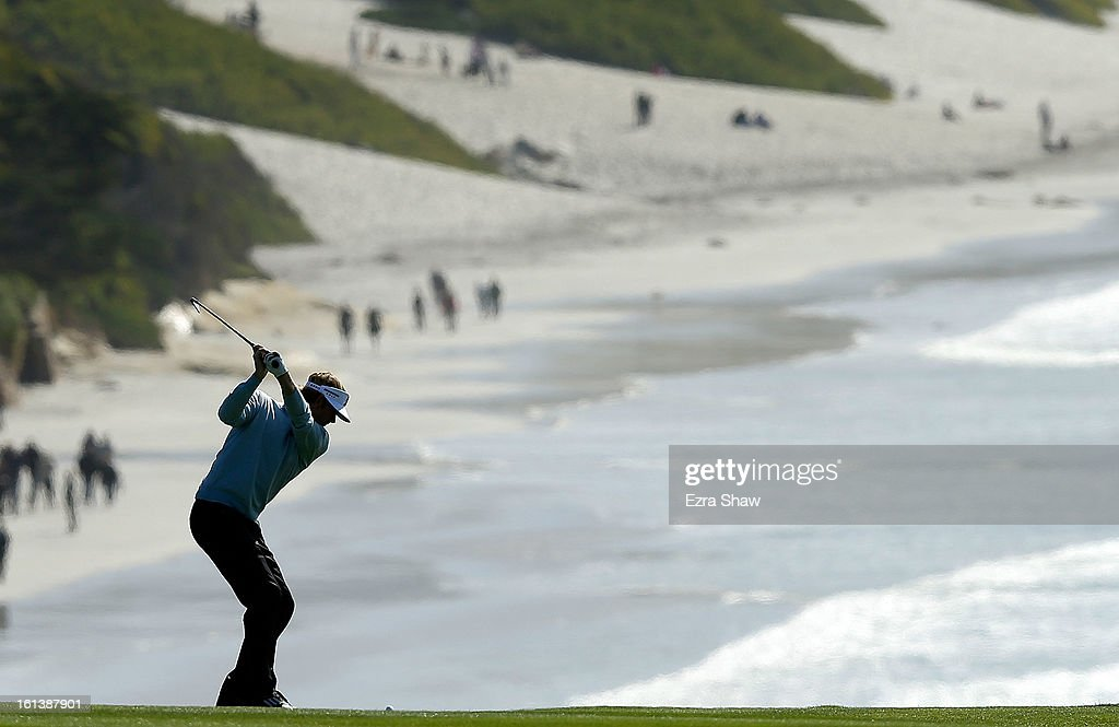 Brandt Snedeker hits a shot during the final round of the AT&T Pebble Beach National Pro-Am at Pebble Beach Golf Links on February 10, 2013 in Pebble Beach, California.