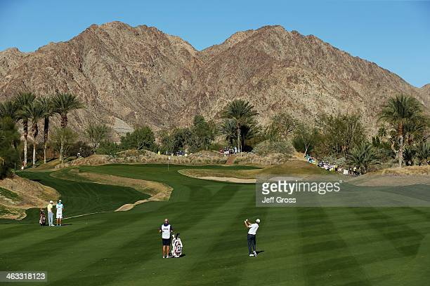 Brandt Snedeker hits his second shot on the fifteenth hole of the Jack Nicklaus Private Course at PGA West during the second round of the Humana...