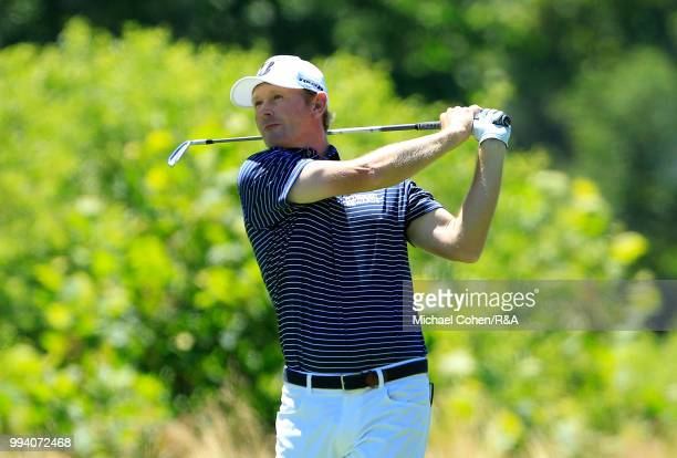 Brandt Snedeker hits his second shot on the second hole during the fourth and final round of A Military Tribute At The Greenbrier held on The Old...