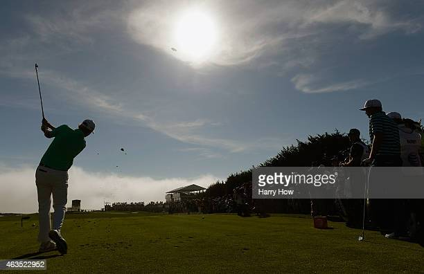 Brandt Snedeker hits his tee shot on the 17th hole during the final round of the ATT Pebble Beach National ProAm at the Pebble Beach Golf Links on...