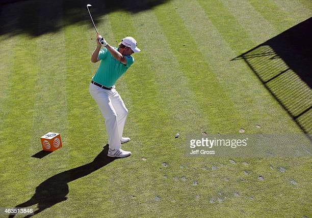 Brandt Snedeker hits his tee shot on the fourth hole during the final round of the ATT Pebble Beach National ProAm at the Pebble Beach Golf Links on...