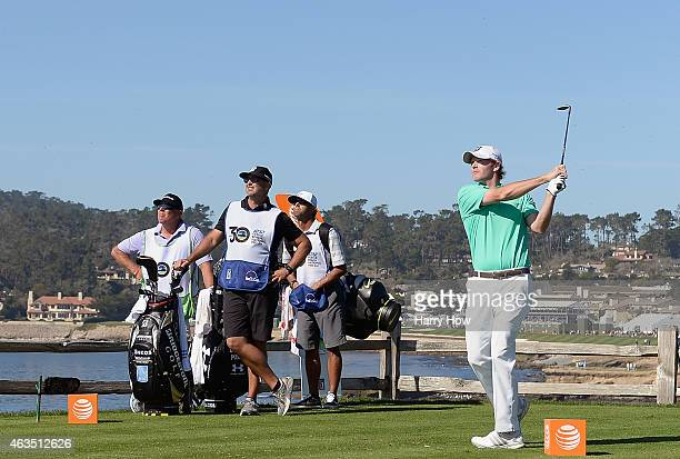 Brandt Snedeker hits his tee shot on the seventh hole during the final round of the ATT Pebble Beach National ProAm at the Pebble Beach Golf Links on...