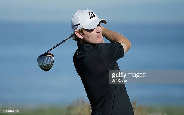 Brandt Snedeker hits his tee shot on the sixth hole during the second round of the AT&T Pebble Beach National Pro-Am at the Spyglass Hill Golf Course...