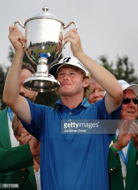 Brandt Snedeker holds the trophy after winning the Wyndham Championship at Forest Oaks Country Club on August 19, 2007 in Greensboro, North Carolina.
