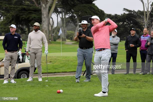 Brandt Snedeker, Larry Fitzgerald, and Peyton Manning attend The Workday Charity Classic, hosted by Stephen and Ayesha Curry's Eat. Learn. Play. And...