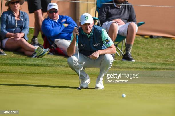 Brandt Snedeker lines up a putt during the first round of the Valero Texas Open at the TPC San Antonio Oaks Course in San Antonio TX on April 19 2018