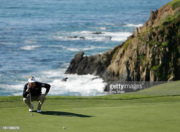 Brandt Snedeker lines up a putt on the eighth green during the third round of the ATT Pebble Beach National ProAm at Pebble Beach Golf Links on...