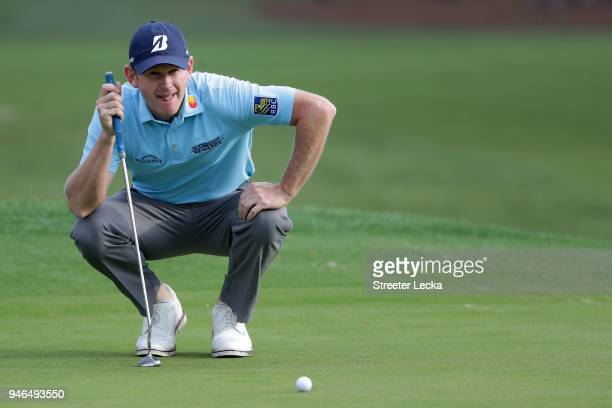 Brandt Snedeker lines up a putt on the second green during the final round of the 2018 RBC Heritage at Harbour Town Golf Links on April 15 2018 in...