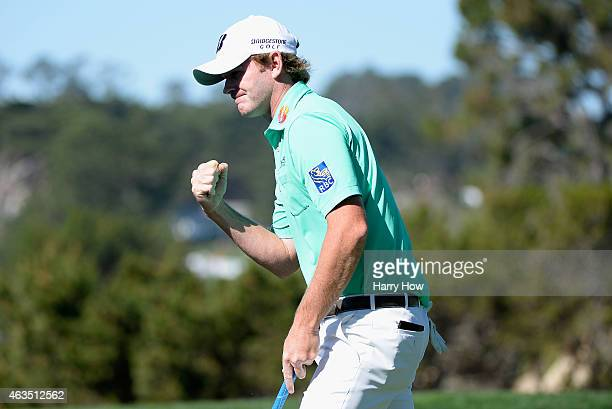 Brandt Snedeker makes birdie on the fifth hole during the final round of the ATT Pebble Beach National ProAm at the Pebble Beach Golf Links on...