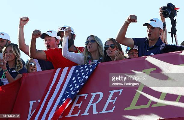 Brandt Snedeker Michael Greller Jordan Spieth and Jordan Spieth of the United States cheer from the bridge after winning the Ryder Cup during singles...
