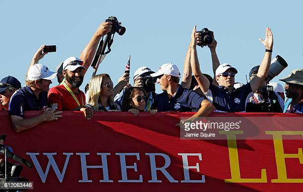 Brandt Snedeker Michael Greller Jordan Spieth Jordan Spieth and Zach Johnson of the United States cheer from the bridge after winning the Ryder Cup...