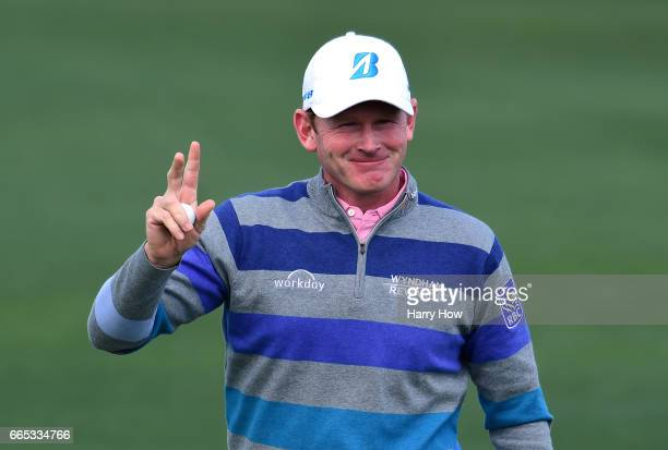 Brandt Snedeker of the United States celebrates making a putt for birdie on the second hole during the first round of the 2017 Masters Tournament at...