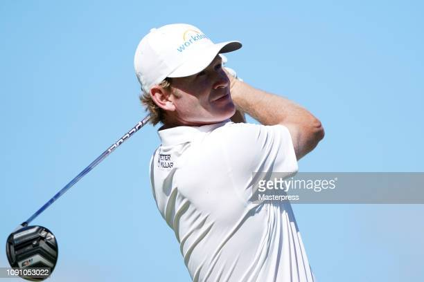 Brandt Snedeker of the United States hits a tee shot on the 3rd hole during the final round of the Sentry Tournament of Champions at the Plantation...